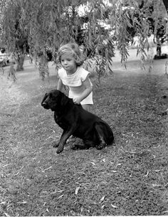 This is a photo of 2 1/2 year-old Caroline Kennedy, daughter of U.S. President John F. Kennedy and Jacqueline Kennedy, playing with the neighbor's dog in Hyannis Port, Mass., on July 29, 1960.