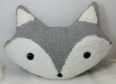 Grey and White Chevron Fox Plush Accent Throw Pillow