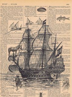Sailboat Ship Antique French Book Page Print