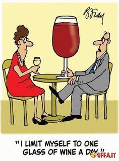 Vignetta divertente Io mi limito a un bicchiere di vino al giorno!
