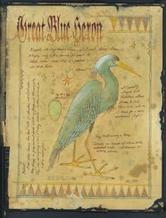 Great blue Heron. Ken Scott watercolor/ink painting on the inside of an antiqued book cover. www.americanfrontierat.blogspot.com