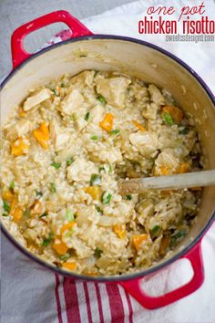 Delicious one pot chicken risotto is easier to make than you might think- and doesn't leave behind a trail of dirty dishes. Can include any veg on hand!
