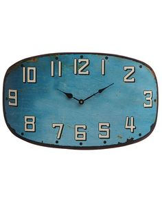 Oval Turquoise Distressed Metal Wall Clock - retro, vintage, decor, train station, rusty, weathered