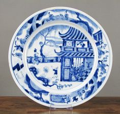 Antique chinese porcelain plate bleu et blanc 18th siècle export kangxi period. OSELLAME'S COLLECTION.