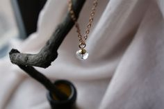 Golden vermeil capped crystal on a natural raw by LittleaJewelry, $35.00