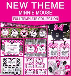 Minnie Mouse Birthday Party Printables - Editable Templates