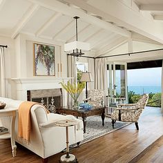 Whiten Up - Laguna Beach Cottage - Coastal Living-Benjamin Moore Ballet White. One of my favorite whites. Coastal Living Rooms, Living Room White, House, 1920s House, Home, Living Spaces, Beachy Living Room, Beach House Decor, Room