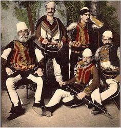Albanians in traditional costumes.  Late 19th century (Studio Marubi, Shkodra).