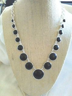 CHAPS RALPH LAUREN BLACK CABOCHON SILVER TONE NECKLACE NWOT | Jewelry & Watches, Fashion Jewelry, Necklaces & Pendants | eBay!