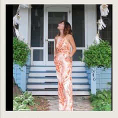 anthropology coral jumpsuit! Great piece for those getaway trips! So cool with pockets and attached ties to wear dozens of ways! Anthropologie Pants Jumpsuits & Rompers