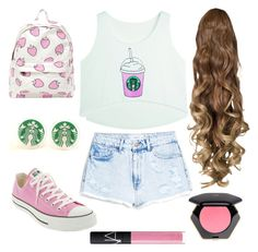 Starbucks anyone? by superhyperactive on Polyvore featuring polyvore, fashion, style, MANGO, Converse, H&M and NARS Cosmetics
