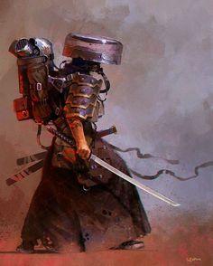 Post Apocalyptic Ronin, giorgio baroni on ArtStation at… Fantasy Character Design, Character Concept, Character Art, Concept Art, Ronin Samurai, Samurai Art, Samurai Warrior, Photoshop Art, Arte Ninja