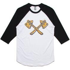 theIndie Crossed Tomahawks 3/4-Sleeve Raglan Baseball T-Shirt