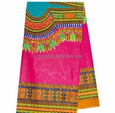 High quality Fuchsia/ Teal Dashiki Print/ African Fabric/ Dashiki Fabric/ African Print/ Large design/ 6 yards  DS61 by TessWorldDesigns on Etsy