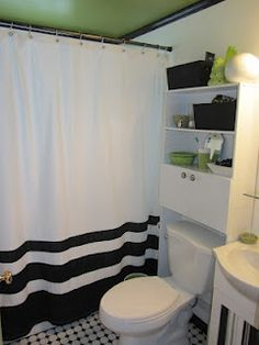 green ceiling and black and white bathroom (hum intresting... wonder if frank would let me do something like this)