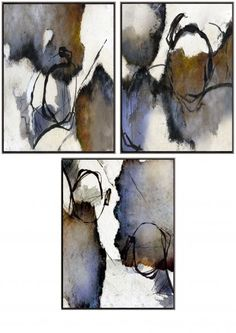 Tekra hand-painted art on stretched canvases floated in standard factory ''L'' shaped frames with shadow gap. Abstract Watercolor Art, Watercolor And Ink, Hand Painting Art, Painting & Drawing, Oeuvre D'art, Art Tutorials, Art Drawings, Contemporary Art, Canvas Art