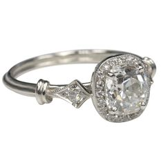 vintage cz cushion cut engagement rings | Old Cushion Cut Engagement Ring at 1stdibs