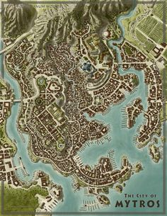 City of Mytros [Odyssey of the Dragonlords] by SirInkman on DeviantArt # . City of Mytros [Odyssey of the Dragonlords] by SirInkman on DeviantArt Fantasy City Map, Fantasy Town, Fantasy World Map, Fantasy Places, Medieval Fantasy, Dark Fantasy, Medieval Village, Village Map, Rpg Map