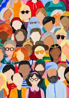"""New Media, """"abstract faces"""" Art And Illustration, Illustrations, Kunst Inspo, Art Inspo, Unity In Art, Diversity Poster, Unity In Diversity, Cultural Diversity, Art Sketches"""
