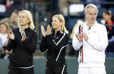 Tennis legends Martina Navratilova, at left, and Chris Evert, middle, and John McEnroe