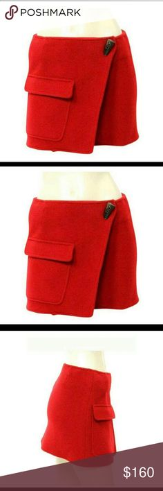 Burberry Red Wool Skirt Bought on Poshmark and it's a little too small for me.  Never worn - still in exact condition I purchased it in.  Authentic. Burberry Skirts Mini