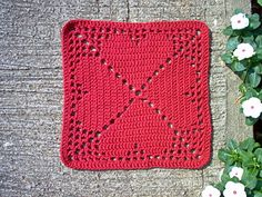 Free Granny's Heart Filet Crochet Motif Pattern