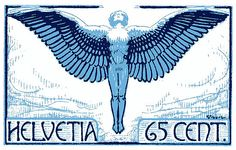 Antique and elegant 1924 postage stamp issued by Switzerland depicting Icarus soaring ad astra (to the stars). icarus,mythology,wings,switzerland,wingspan,antique,postage,stamp,postal,mail,feathers,fly