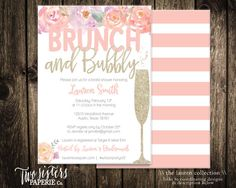 Floral Brunch and Bubbly Bridal Shower Invitation - Printable Invitation