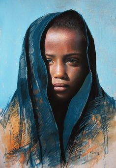 58 Sublime Paintings by Bolivian Artist Rosmery Mamani Ventura Pastel Portraits, Watercolor Portraits, Photographie Portrait Inspiration, Pastel Artwork, Chalk Pastels, Portrait Art, Portrait Paintings, Figure Painting, African Art