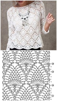 Receive the most beautiful crochet recipes T-shirt Au Crochet, Bobble Stitch Crochet, Beau Crochet, Pull Crochet, Mode Crochet, Crochet Motifs, Crochet Girls, Crochet Stitches Patterns, Crochet Designs