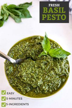 This fresh Basil Pesto recipe is made with 5 ingredients in 5 minutes! Homemade Pesto is very easy to make and tastes so much better than store bought. This versatile sauce is delicious simply tossed with cooked pasta and can also be used as part of other recipes, and as a topping or spread. #pesto #basil #sauce Summer Grilling Recipes, Summer Recipes, Easy Dinner Recipes, Easy Recipes, Easy Meals, Healthy Recipes, Best Pesto Recipe, Fresh Basil Pesto Recipe, Basil Pesto Recipes