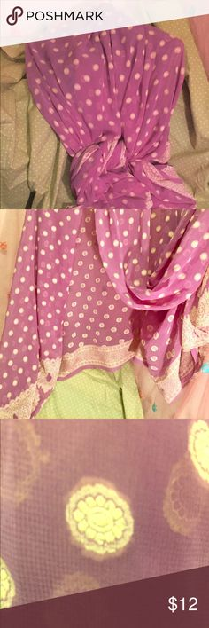 "Extra large sheer Bolly style scarf/shawl This thing is very large! 90"" x 45"" 😱 it works great as a scarf or shawl or even a beach cover up. So many options with this amount of fabric! Indian/Bollywood inspires design. The pictures make it look much brighter but it's more like mauve. I tried to make that clear in the close up 😬 Accessories Scarves & Wraps"