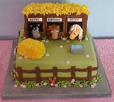 Horse Cake This was inspired by a & Little Pony& cake by Debbie Brown. As the birthday girl was 11 I had to make it a bit more. Cake Original, Cake Paris, Debbie Brown, My Little Pony Cake, Farm Cake, Horse Cake, Horse Party, Pony Party, Cake Images