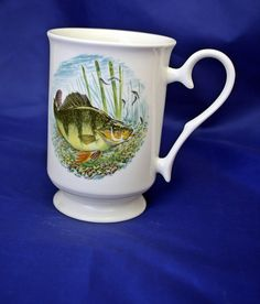 Fathers day  home made, perch, sergeant fish, made in wales, welsh craft, china mug, fishing mug, coffee mug, decorated mug, fish decal,