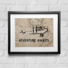 Adventure Awaits Print Vintage Airplane Decor Adventure