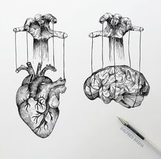 Black and White Surreal Drawings Heart and Brain Manipulation. Diverse Black and White Surreal Drawings. By Alfred Basha.Heart and Brain Manipulation. Diverse Black and White Surreal Drawings. By Alfred Basha. Sketchbook Drawings, Tattoo Drawings, Pencil Drawings, Art Sketches, Heart Pencil Drawing, Black Pen Drawing, Black And White Art Drawing, Heart Drawings, Modern Drawing