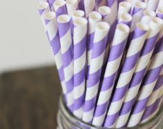 Purple Striped Paper Straws - lavender, lilac, light purple, Wedding Decor, Bridal, Baby Shower Party Supplies, decorative, pastel (n.54)