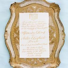 paper  wedding invitation Gold frame calligraphy elegant