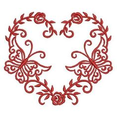 Beautiful Butterfly and Rose Heart Redwork design by Sweet Heirloom