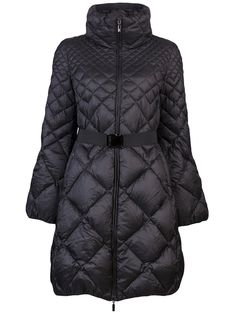 Moncler  Bourdon quilted coat  $ 1595.00  Bourbon quilted coat in black from Monder. This soft padded coat features a tall neckline, zip front closure, long sleeves, and a detachable elastic belt. Has two side inset pockets with zip closure, a flared hem, and full lining.     Item ID :   10289753    Composition :   cotton: 100%, nylon: 100%, feather down: 100%