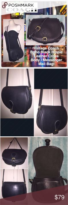 """VTG Coach Boho Black Leather Cross Body Mail Bag! Vintage Coach Boho Black Hippie Leather Cross Body / Messenger Mail Bag! Features: 100% authentic, leather hangtag, adjustable strap (up to 22"""" shoulder/body clearance), front flap, belted style snap closure & slip pocket under flap, one interior zip pocket, Coach brass hardware, Coach creed & serial no. on inside. Measures 7"""" high x 9"""" across x 2 1/2"""". No rips, tears, damage nor any offensive odors. EX condition. Offers welcome! Coach Bags…"""