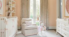 Melissa Haynes nursery Chaddock dresser chest Schumacher chinois palais drapery Benjamin Moore Queen Anne Pink walls