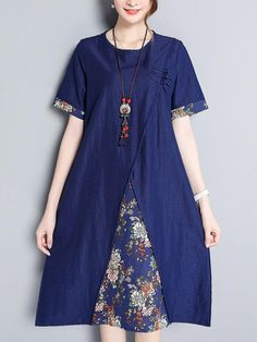 Women Short Sleeve O-neck Patchwork Vintage Dresses