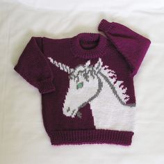 Made To Order Womens Unicorn Sweater Kni - Diy Crafts Baby Sweaters, Pullover Sweaters, Hand Knitting, Knitting Patterns, Light Blue Eyes, Diy Crafts How To Make, Seed Stitch, Trim Color, Large Women