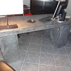 bureau en beton cire completement fait main avec rangements bureau en beton meuble a tiroir