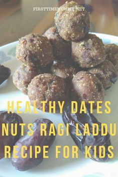 If you are facing trouble feeding your child dry fruits and nuts, check out this healthy dates nuts ragi laddu recipe for kids. Vegetarian Meals For Kids, Vegetarian Recipes Easy, Healthy Snacks For Kids, Healthy Cooking, Kids Meals, Healthy Eating, Indian Recipes For Kids, Healthy Indian Recipes, Indian Dessert Recipes