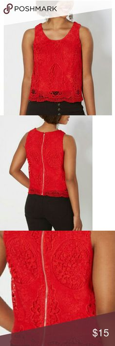 NWT  Red Medallion Crochet  Tank Top. NWT  Red Medallion Crochet Tank Top. Back zip. Fully lined. Shell/Lining: 100% Polyester. Tops Tank Tops