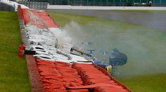 Marcus Ericsson (SWE) Sauber C35 crashes in FP3 at Formula One World Championship, Rd10, British Grand Prix, Qualifying, Silverstone, England, Saturday 9 July 2016. © Sutton Images
