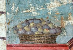 Figs in basket, fresco Pompeii. 1st c. CE.
