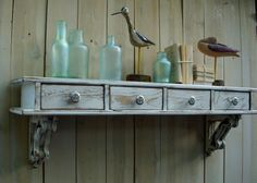 I like the idea of working drawers. Not so much the styling here, just the idea. (via Honey's Treasures Etsy shop)